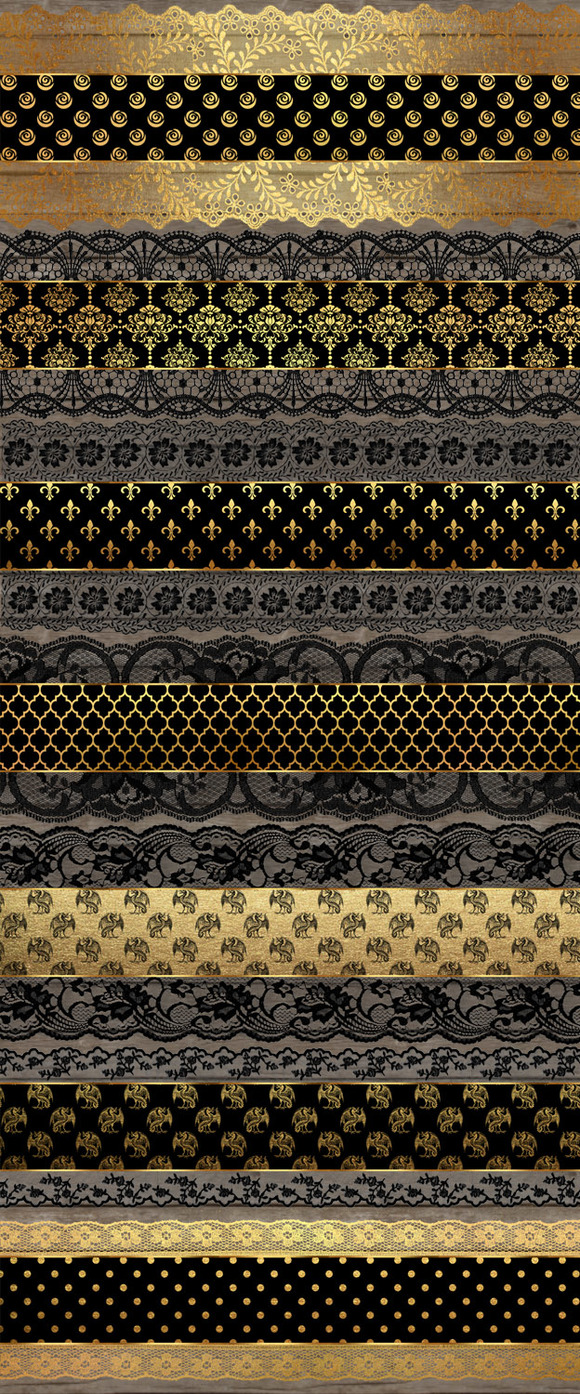 Black And Gold Lace Borders Clipart