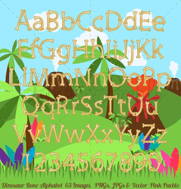 Dinosaur Bone Alphabet Background