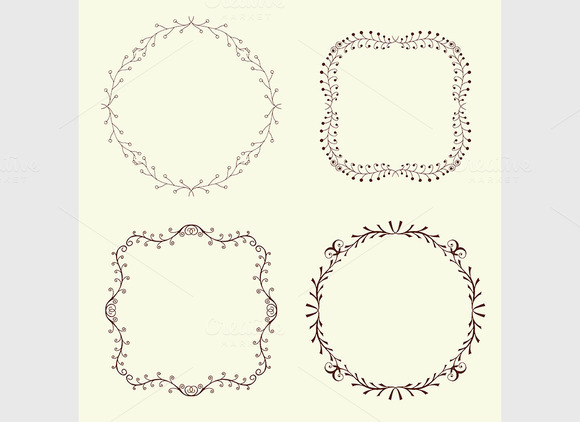 Set Of 4 Hand Drawn Frames Vector
