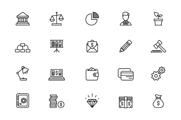 Outline Bank Icons
