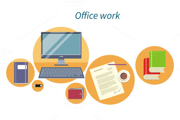Office Work Concept Flat Design Icon