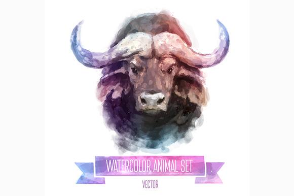 Watercolor Set Of Animals Bull