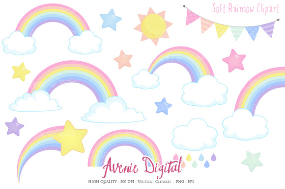 Pastel Rainbow Clipart Vector