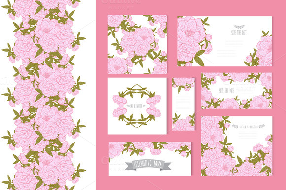 Pink Peony Card Templates Patterns