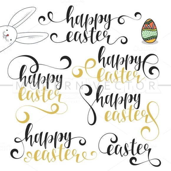 Stock graphic happy easter calligraphy set bunny