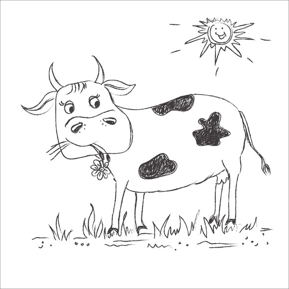 Cow Sketch Doodle Drawing