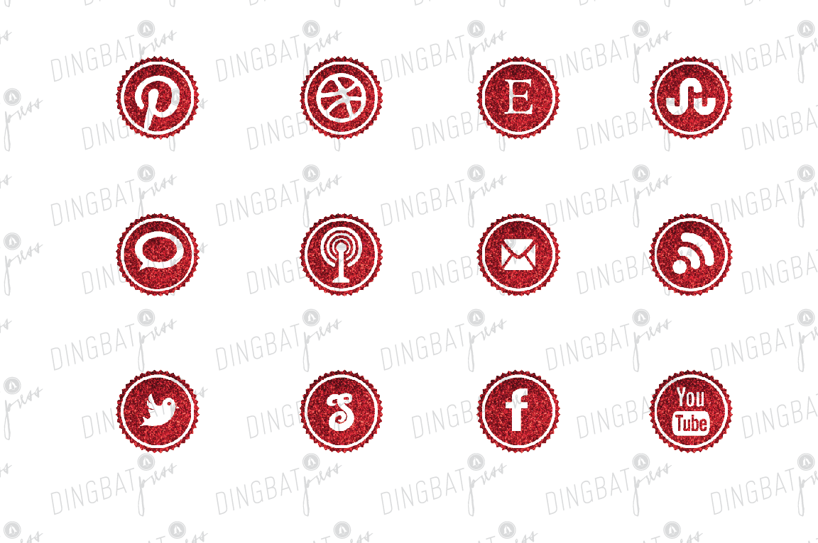 RED Glitter Social Media Icons ~ Icons on Creative Market