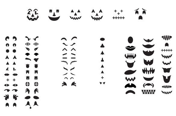 Jack-O-Lantern Pumpkin Faces Vectors ~ Graphics on