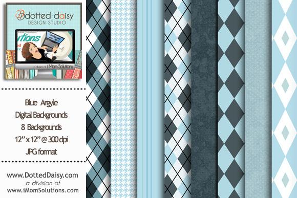 Blue Argyle Digital Backgrounds