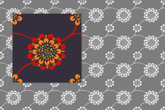 Mums On A Vine Pattern Tile