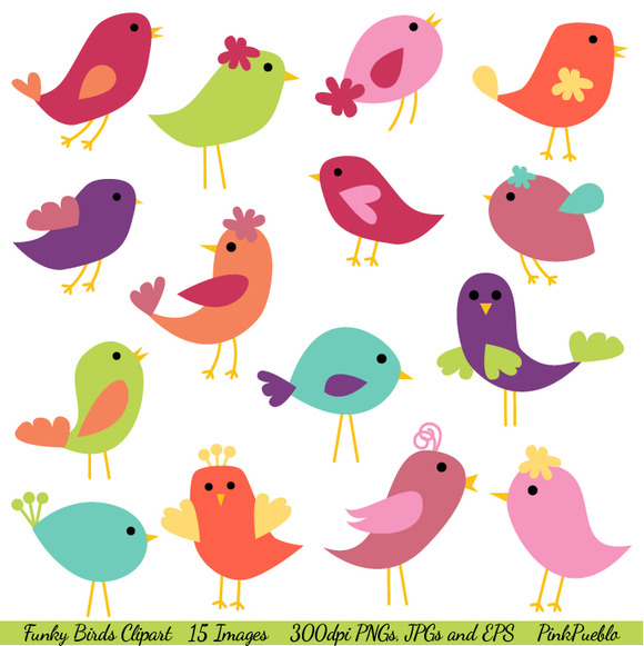 Funky Birds Vectors And Clipart Illustrations On