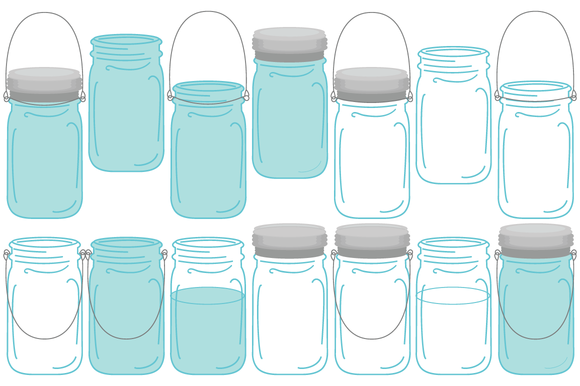 Blue Mason Jar Drawing Vector Vintage Mason Ball Jars