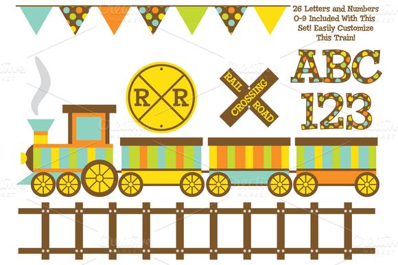 Vector Train And Digital Alphabet