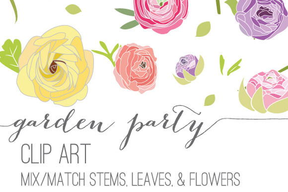 garden party flower clip art graphics on creative market. Black Bedroom Furniture Sets. Home Design Ideas