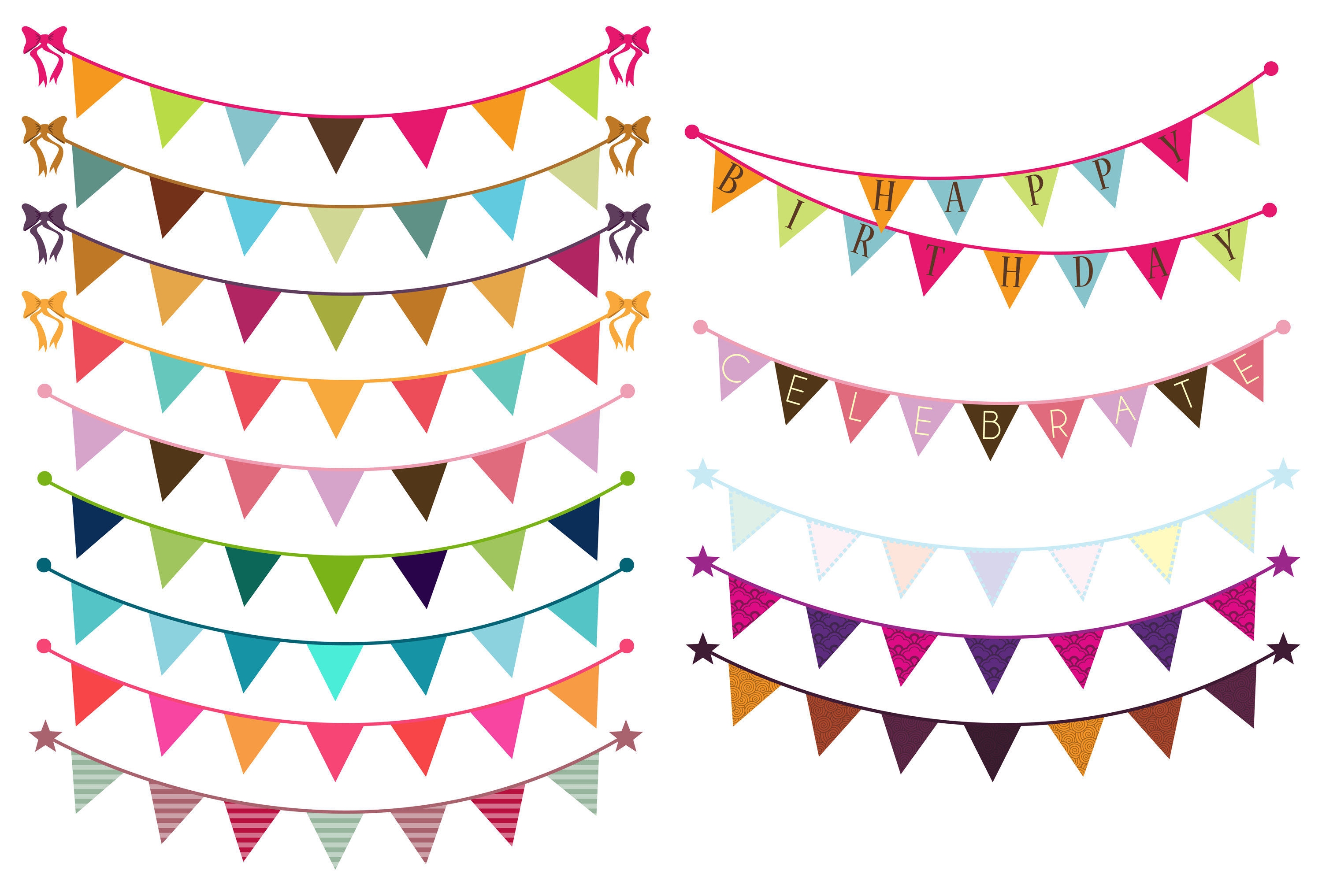 Bunting Vectors and Clipart ~ Objects on Creative Market