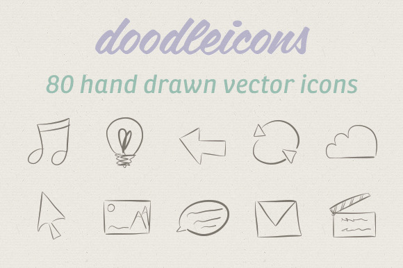 80 Hand Drawn Vector Icons