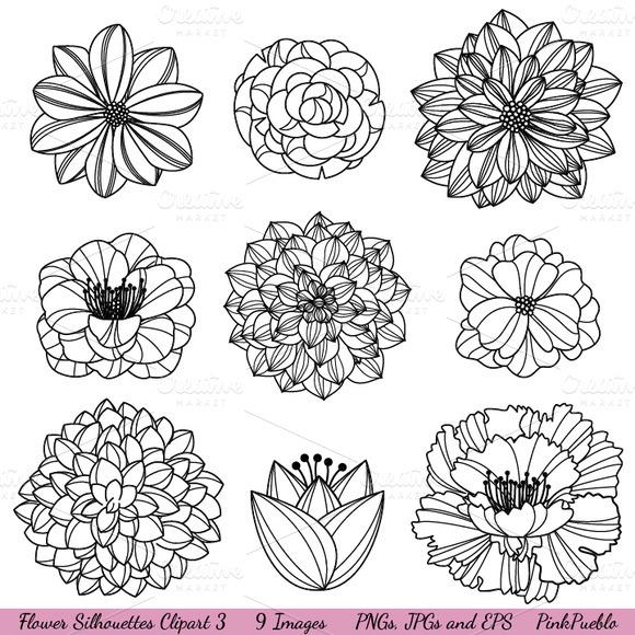 Flower Silhouettes Vectors Clipart