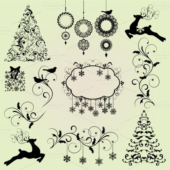 Christmas Elements Vectors Clipart