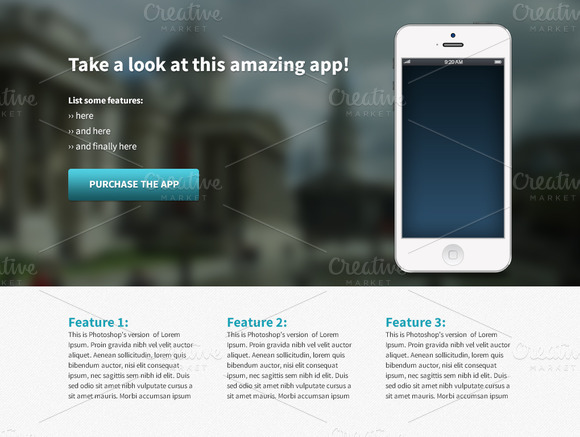 iPhone app template page ~ Website Templates on Creative Market