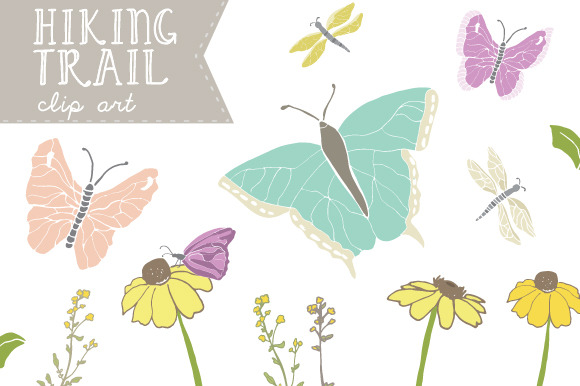 Hiking Trail Butterfly Clip Art