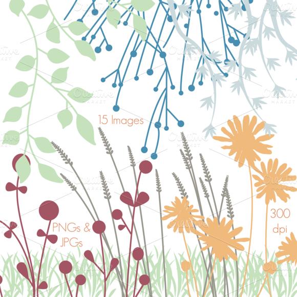 Flower Silhouettes 1 Vectors Clipart