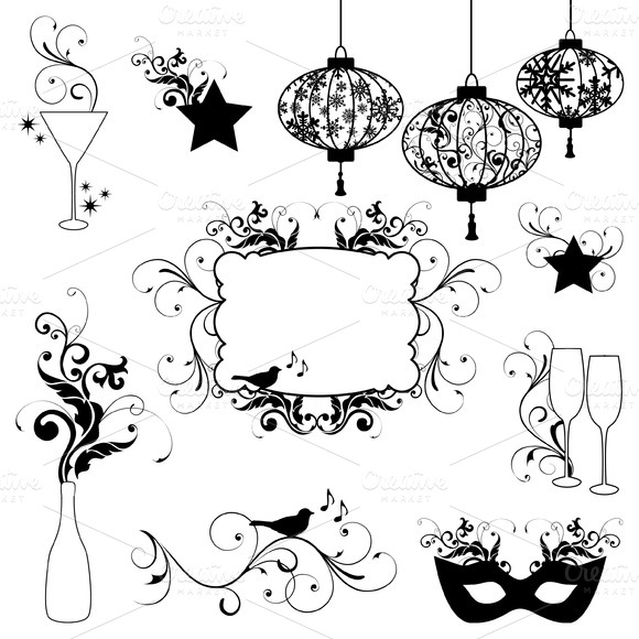 New Year Silhouettes Vectors Clipart