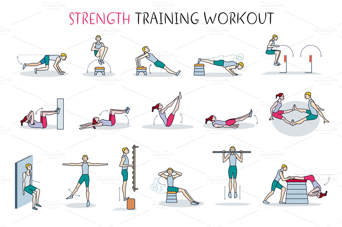 Strength Training Workout ~ Illustrations on Creative Market