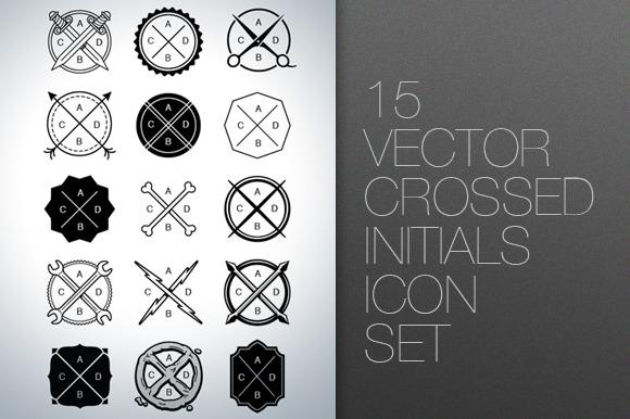 Vector Crossed Initials Icon Set