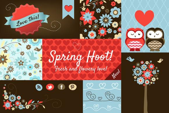 Spring Hoot Design Elements Pack