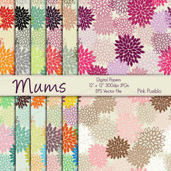 Mums Digital Papers Or Backgrounds