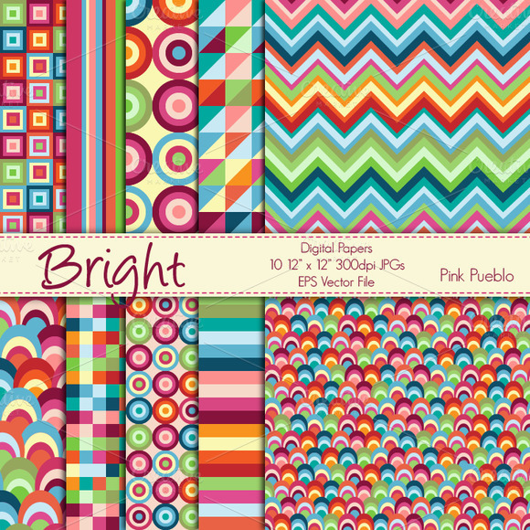 Bright Geometric Papers Backgrounds
