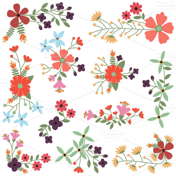 Vintage Flowers Vectors and Clipart ~ Illustrations on ...