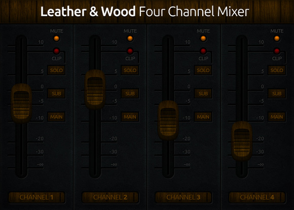 Leather Wood 4 Channel Mixer UI