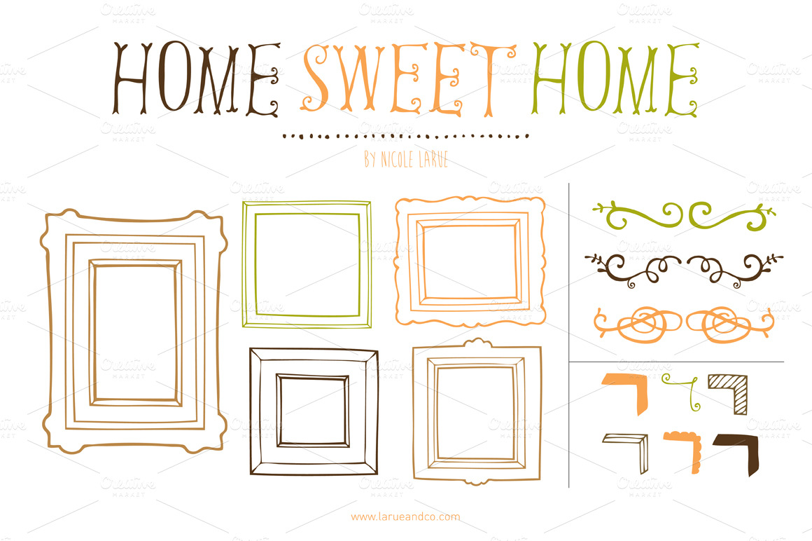 home sweet home clipart illustrations on creative market. Black Bedroom Furniture Sets. Home Design Ideas