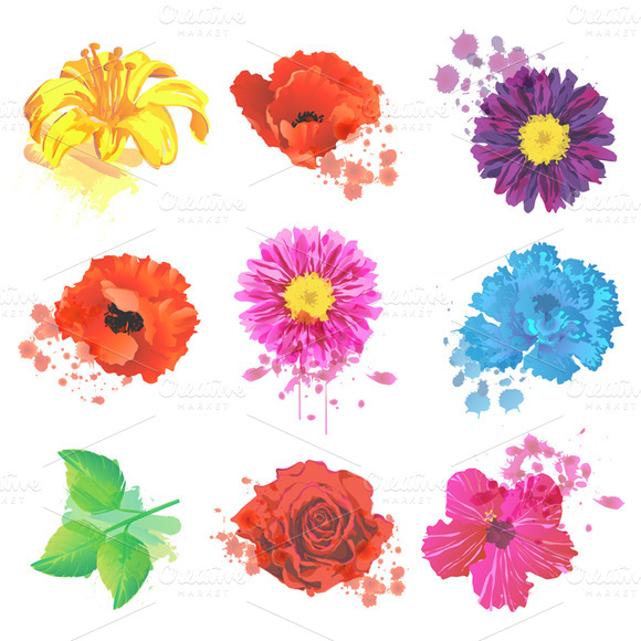 Grunge Flowers Vectors And Clipart