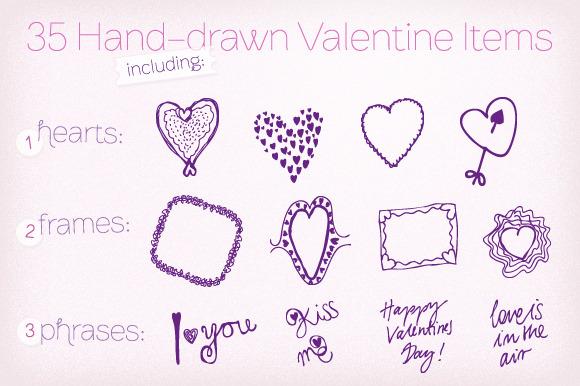 35 Hand-drawn Valentine Vectors