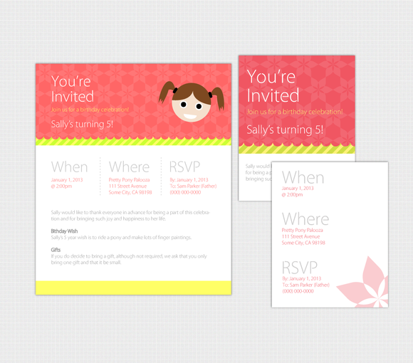 Birthday Invite Pack For Web Print