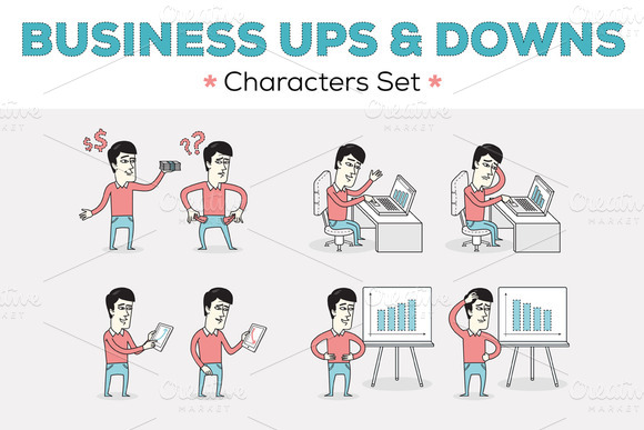 Business Ups Downs Characters Set