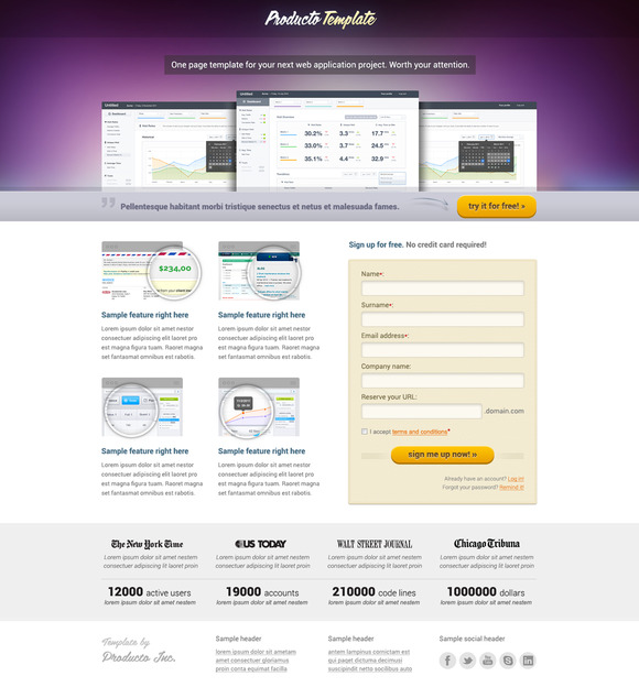 Producto One Page App Template