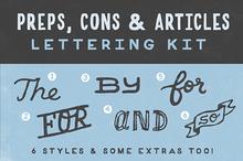 Preps, Cons, & Articles Lettering