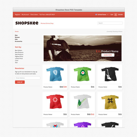 Shopskee Online Store PSD Templates