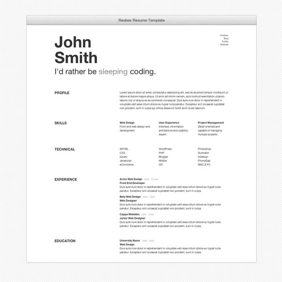 reskee resume bootstrap 3 template