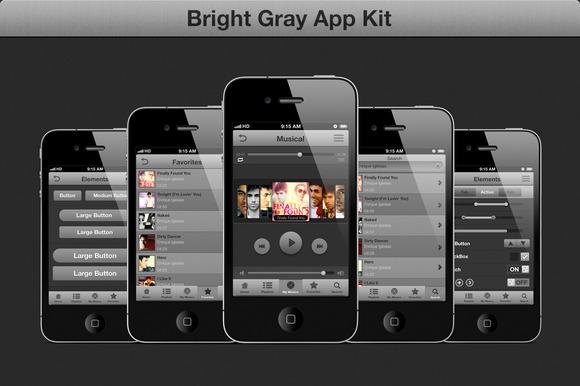 Gray GUI IOS Kit Music App