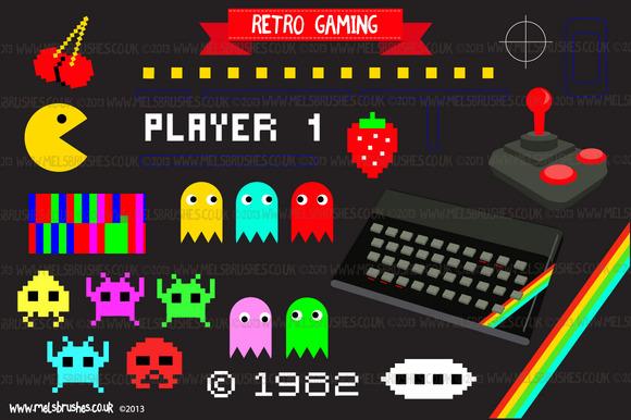 retro gaming illustrations on creative market