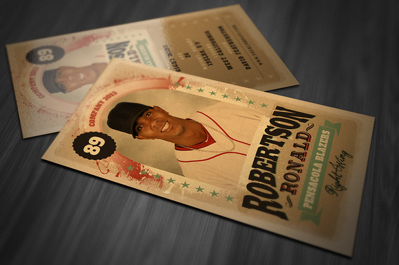 Retro trading card template card templates on creative for Baseball card size template