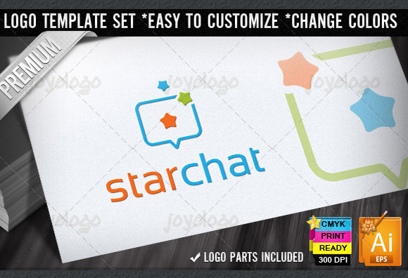 Stars Box Social Chat Logo Template