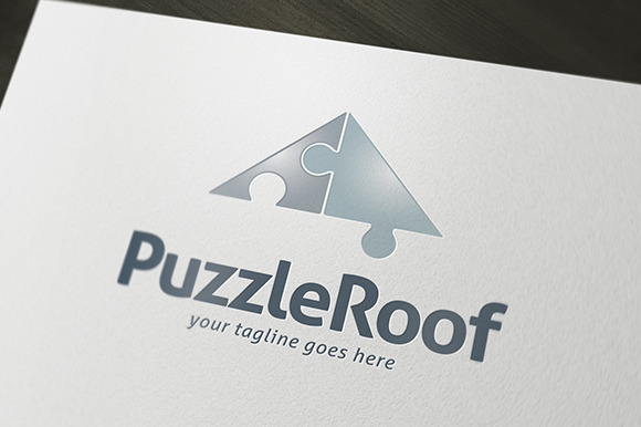 Puzzle Roof Logo Template