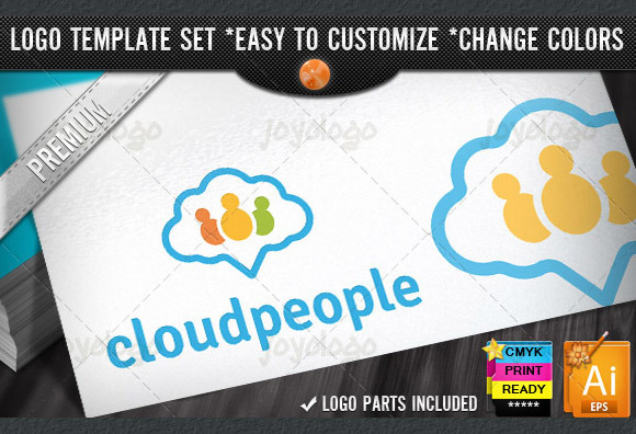 Chat People Pin Cloud Logo Template