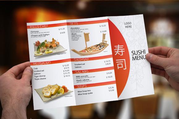 Tri Fold Sushi Menu Template Brochure Templates On