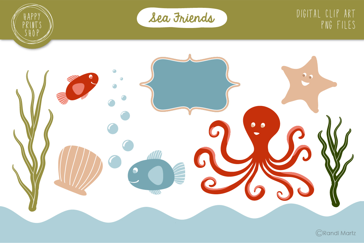 Rainy Day Clip Art Sea friends - ocean clip art